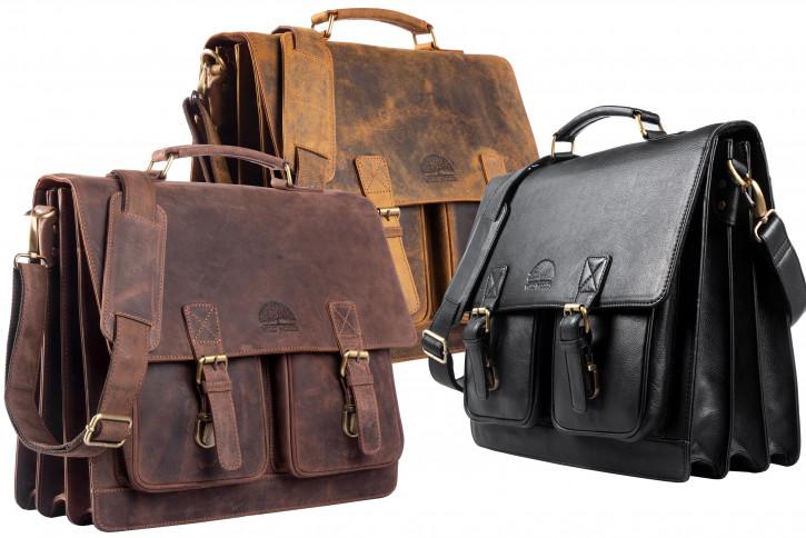 WILD WOODS® Aktentasche Leder XL mit Laptopfach 15,6 Zoll Große Ledertasche zum Umhängen