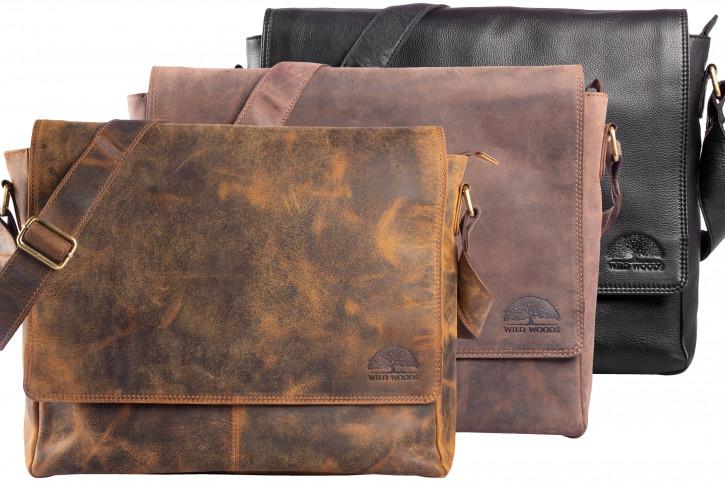 WILD WOODS® Aktentasche Leder XL mit Tablettfach Große Ledertasche zum Umhängen