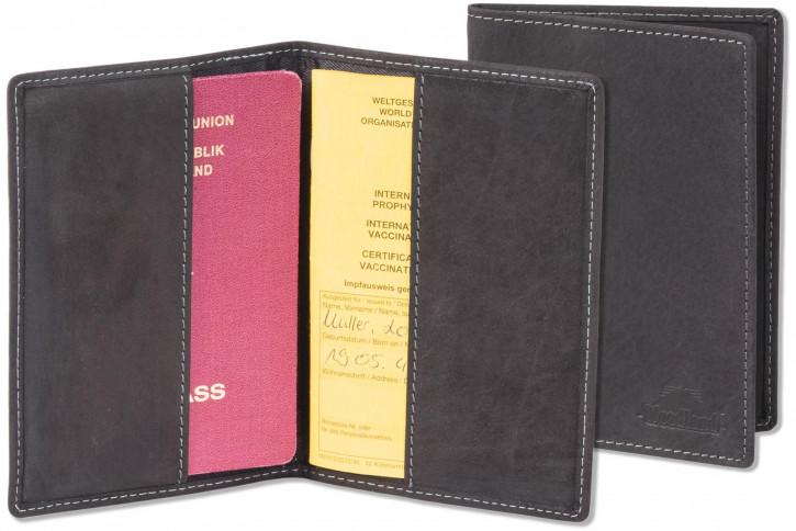 Woodland® Lederetui für den EU-Reisepass  mit RFID/NFC Ausleseschutz der Daten und den EU-Impfausweis Büffelleder Grau/Anthrazit