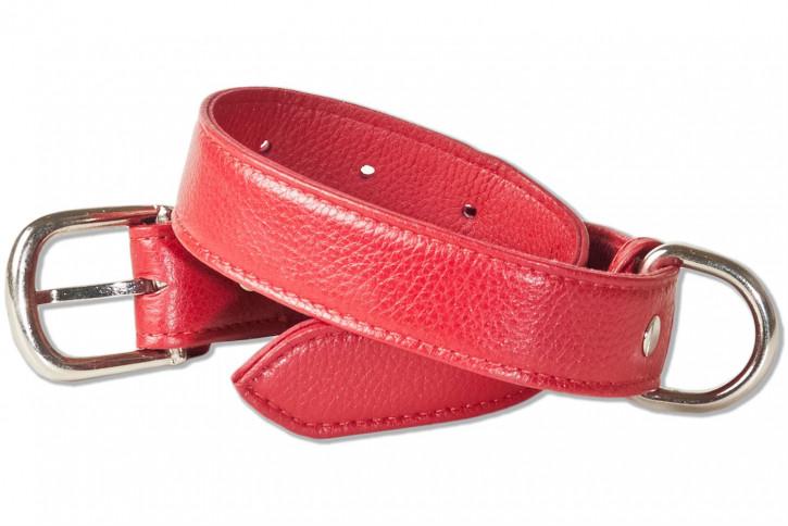 Rimbaldi® Voll-Leder Hundehalsband für mittelgroße Hunde mit 35-45 cm Halsumfang in Rot