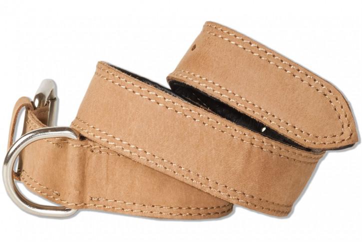 Woodland® Hundehalsband aus Büffelleder für mittelgroße Hunde mit 45-55 cm Halsumfang in Hellbraun