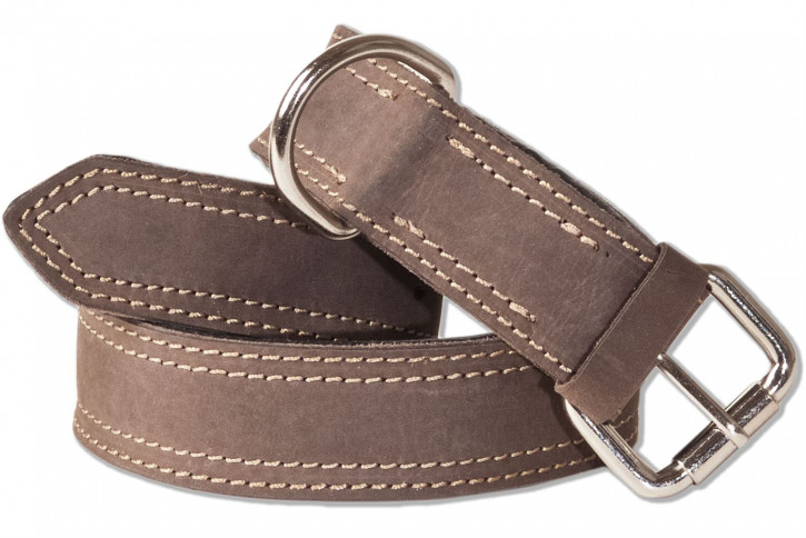 Woodland® Full buff-leather dog collar for medium-size dogs with 45-55 cm neck circumference in dark-brown