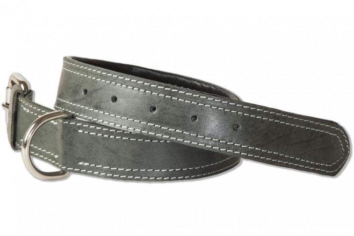 Woodland® Hundehalsband aus Büffelleder für mittelgroße Hunde mit 45-55 cm Halsumfang in Anthrazit