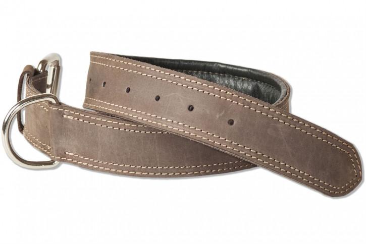 Woodland® Hundehalsband aus Büffelleder für große Hunde mit 50-65 cm Halsumfang in Dunkelbraun/Taupe