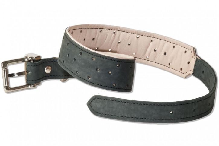 Woodland® Hundehalsband aus Büffelleder für große Hunde mit 50-65 cm Halsumfang in Anthrazit