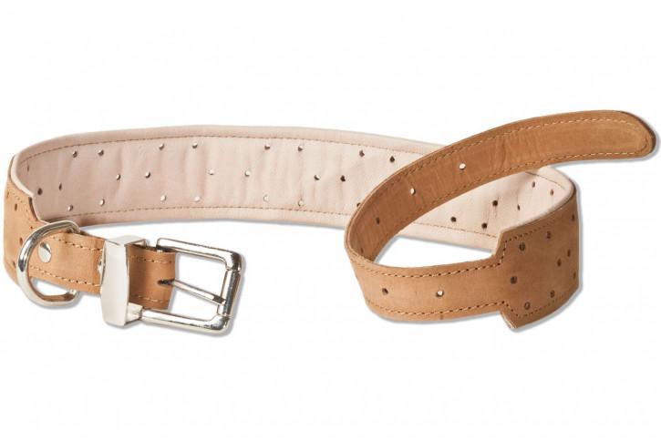 Woodland® Hundehalsband aus Büffelleder für sehr große Hunde mit 55-70 cm Halsumfang in Braun