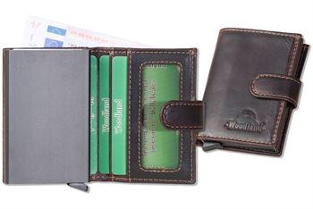 Woodland® FLIP-OUT Automatik-Geldbörse mit RFID/NFC-Blocker Schutz für 10 Kreditkarten aus Rindsleder in Dunkelbraun/Multicolor