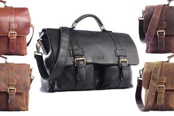 WILD WOODS® - Aktentasche Leder XL mit Laptopfach 15,6 Zoll große Ledertasche zum Umhängen aus Rindsleder