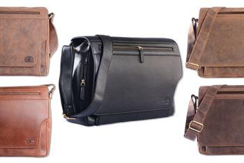 WILD WOODS® - Laptop Messenger Bag Leder große Umhängetasche mit 15,6 Zoll Notebook-Fach Aktentasche für Business Büro Uni Schule