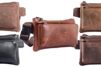 WILD WOODS® - Modische Bauchtasche Echt Leder Vintage Gürteltasche Unisex Hüfttasche