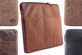 WILD WOODS - Laptoptasche 15,6 Zoll Leder Notebook Tasche Dokumententasche Echtleder Aktentasche Rindsleder Schwarz