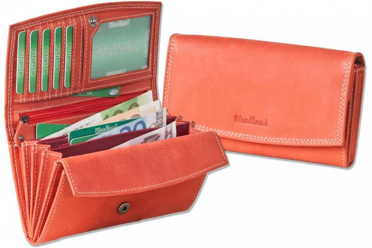 Woodland® Ledergeldbörse für Damen aus Büffelleder in Rot, naturbelassen und robust