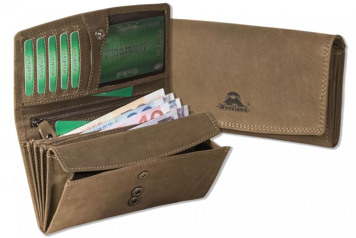 Woodland® Große Ledergeldbörsen für Damen aus Büffelleder in Dunkelbraun/Taupe