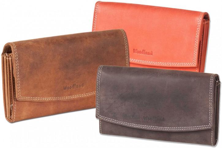 Woodland® Ledergeldbörse für Damen aus naturbelassenem Büffelleder