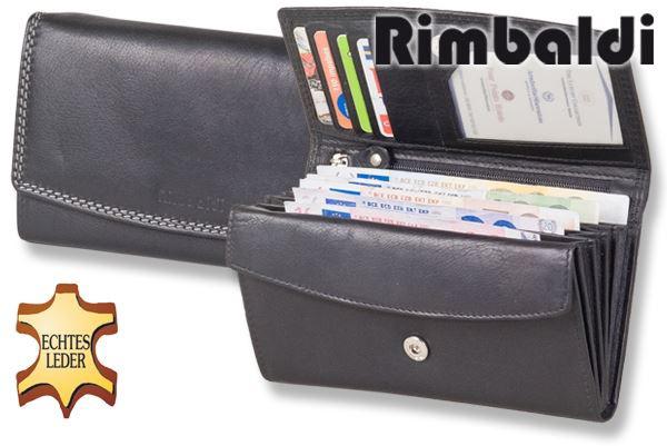 Rimbaldi® Damengeldbörse aus Rindsleder in Schwarz und Außen-Doppelnaht in Hell-Grau, mit vielen Fächern
