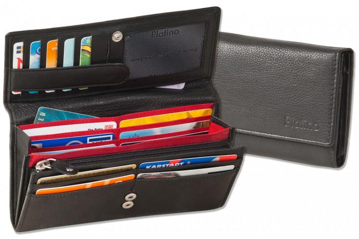 Platino - Große Damengeldbörse mit großem Reißverschluss-Hartgeldfach aus naturbelassenem Rindsleder in Schwarz