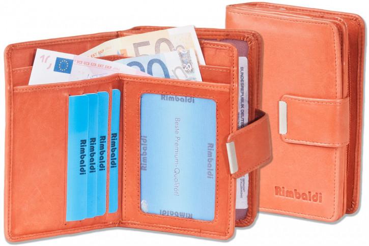Rimbaldi® Kompakte Damengeldbörse mit besonders viel Platz aus naturbelassenem Rindsleder in Rost
