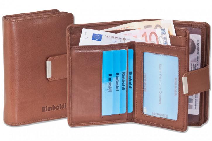 Rimbaldi® Kompakte Damengeldbörse mit besonders viel Platz aus naturbelassenem Rindsleder in Braun