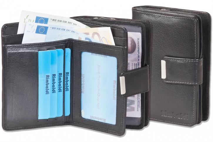 Rimbaldi® Kompakte Damengeldbörse mit besonders viel Platz aus naturbelassenem Rindsleder in Schwarz