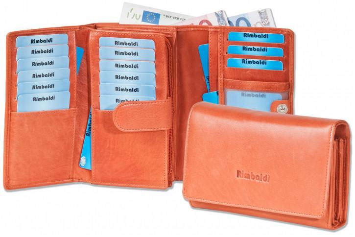 Rimbaldi® Damengeldbörse mit besonders viel Platz aus naturbelassenem Rindsleder in Rost