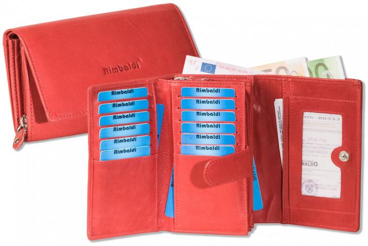 Rimbaldi® Damengeldbörse mit besonders viel Platz aus naturbelassenem Rindsleder in Rot