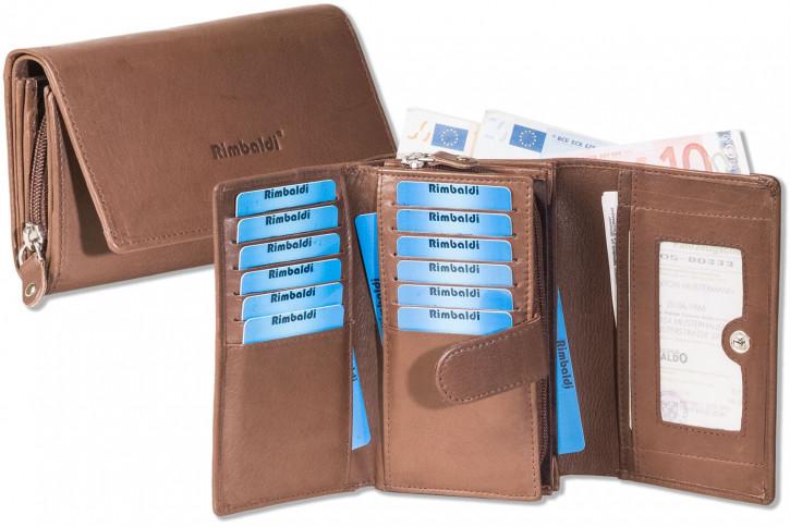 Rimbaldi® Damengeldbörse mit dem Protecto® RFID-Blocker Schutz und aus naturbelassenem Rindsleder in Braun