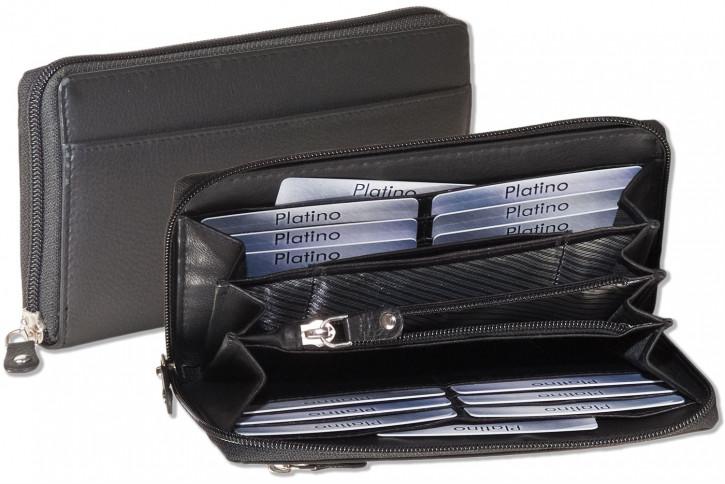 Platino - Große Damengeldbörse mit umlaufendem Reißverschluss aus naturbelassenem Rindsleder in Schwarz