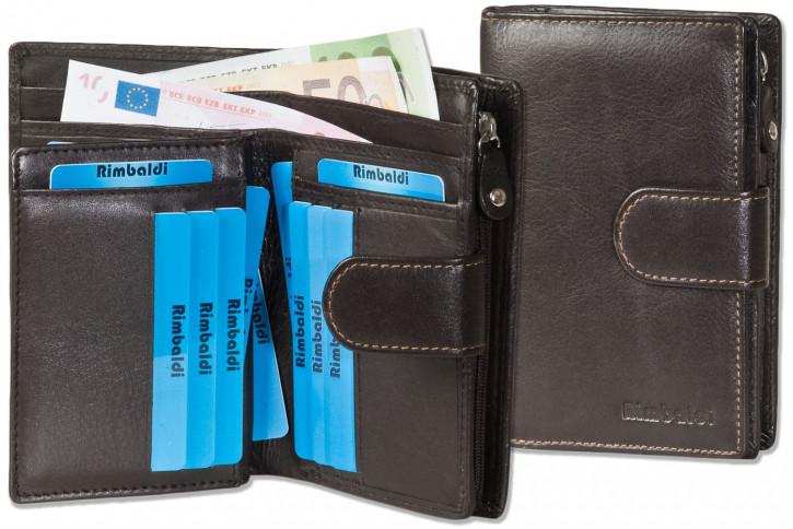 Rimbaldi® Kompakte Damengeldbörse aus feinem Rind-Nappaleder in Dunkelbraun