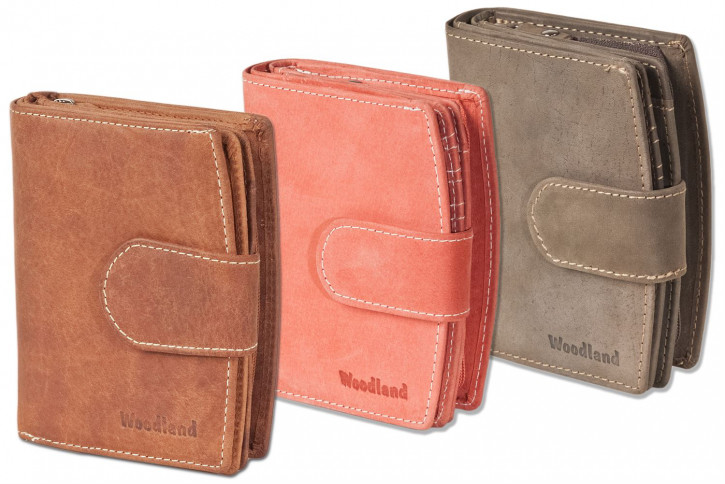 Woodland® Kompakte Luxus-Damenbörse mit besonders vielen Kreditkartenfächer aus naturbelassenem Büffelleder