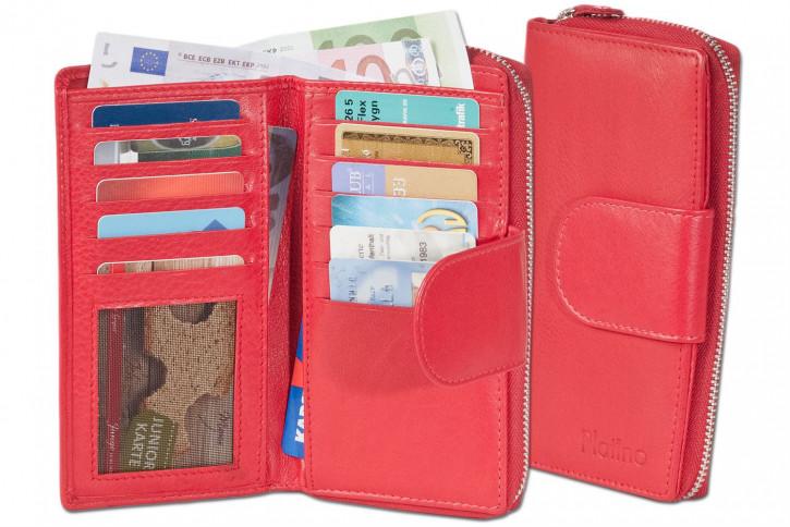 Platino - Damengeldbörse mit großem Hartgeldfach und umlaufenden YKK Metall-Reißverschluss aus feinstem Rindsleder in Rot
