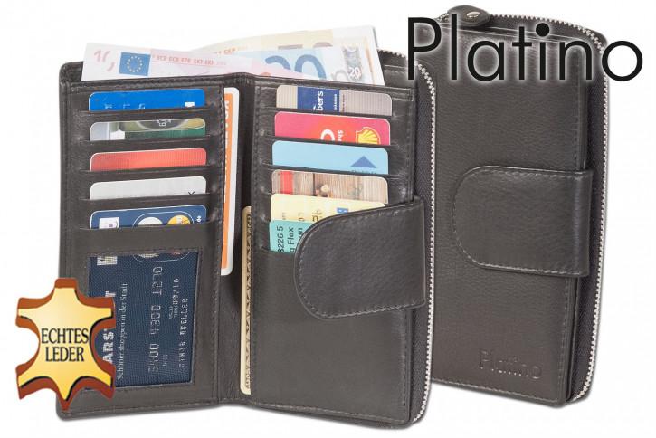 Platino - Damengeldbörse mit großem Hartgeldfach und umlaufenden YKK Metall-Reißverschluss aus feinstem Rindsleder in Schwarz