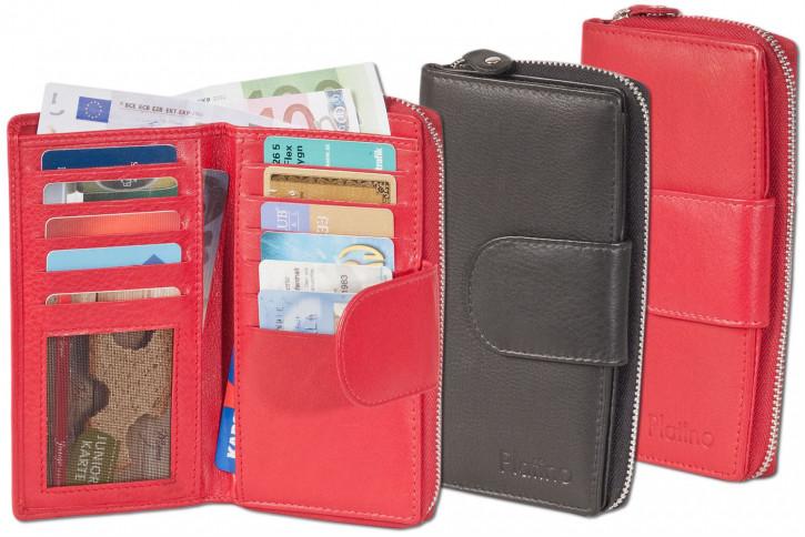 Platino - Damengeldbörse mit großem Hartgeldfach und umlaufenden YKK Metall-Reißverschluss aus feinstem Rindsleder