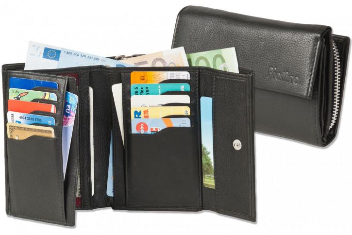 Platino - Große Damengeldbörse aus bestem, naturbelassenem Rindsleder in Schwarz