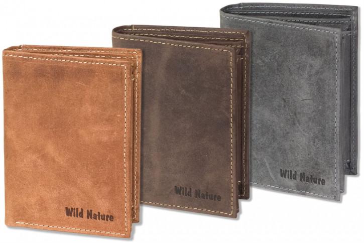 Wild Nature® - Hochformat-Riegelbörse aus naturbelassenem, weichem Büffelleder
