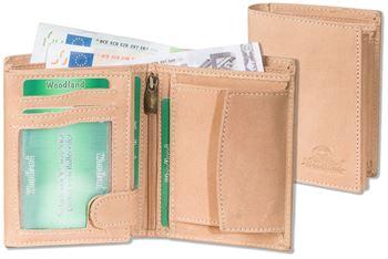Woodland® Hochformat-Riegelbörse mit dem Protecto® RFID/NFC-Blocker Schutz aus naturbelassenem Büffelleder