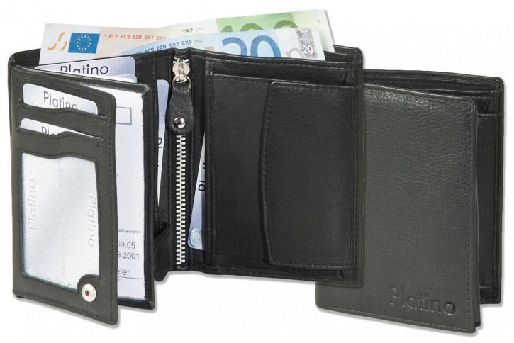 Platino - Riegelgeldbörse im Hochformat aus naturbelassenem, First-Class Rindsleder in Schwarz