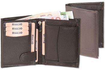 Rinaldo® Hochformat Riegelbörse mit Protecto® RFID-Blocker Schutz aus weichem Rinds-Nappaleder in Dunkelbraun