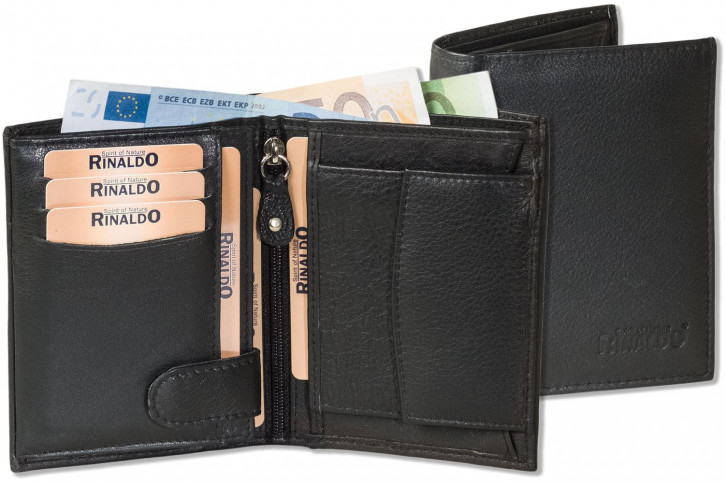 Rinaldo® Porttrait-format wallet made of soft cowhide nappa leather in black