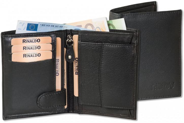 Rinaldo® - Hochformat Riegelbörse mit dem Protecto® RFID/NFC-Blocker Schutz aus weichem Rinds-Nappaleder in Schwarz