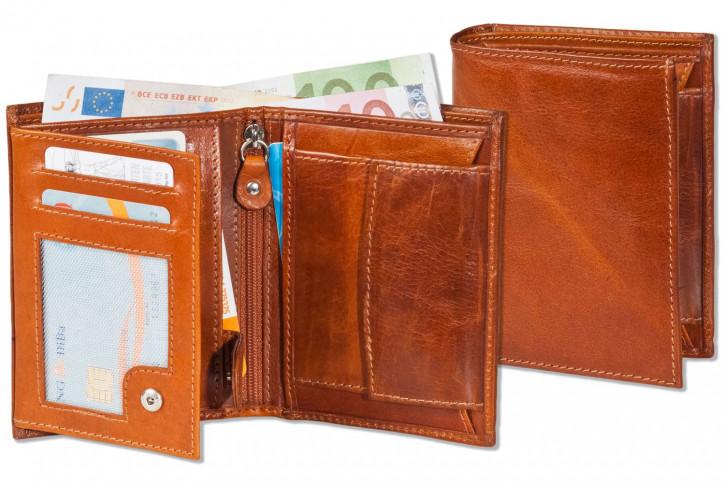 Woodstone® Geldbörse mit besonders vielen Einsteckfächern aus OIL PULL-UP Büffelleder in Cognac