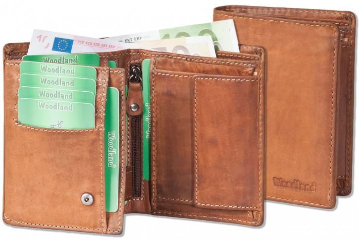 Woodland® Riegelgeldbörse im Hochformat aus OIL-PULL UP Rindsleder in Braun/Natur