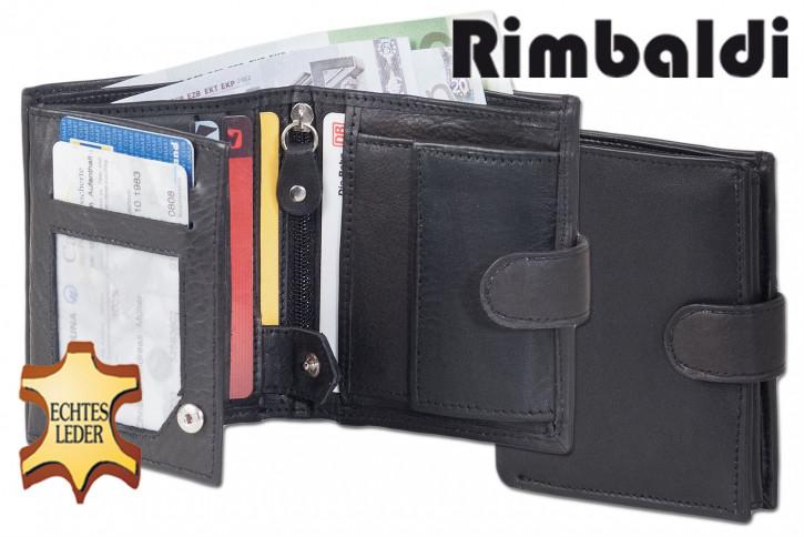 Rinaldo® Kleine Geldbörse im Hochformat mit Innen- und Außenriegel aus naturbelassenem Rindsleder in Schwarz