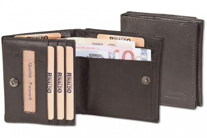Rinaldo® Kleine Geldbörse mit großem Hartgeldfach (Wiener Schachtel) aus naturbelassenem glatten Rindsleder in Dunkelbraun