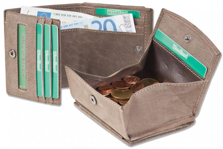 Woodland® Kleine Geldbörse (Wiener Schachtel) aus naturbelassenem, weichem Büffelleder