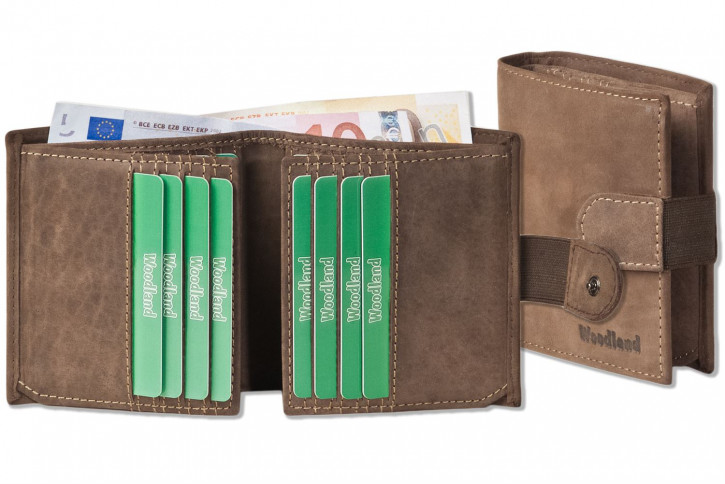 Woodland® Geldbörse mit flachem Außen-Hartgeldfach aus naturbelassenem weichem Büffelleder in Dunkelbraun/Taupe