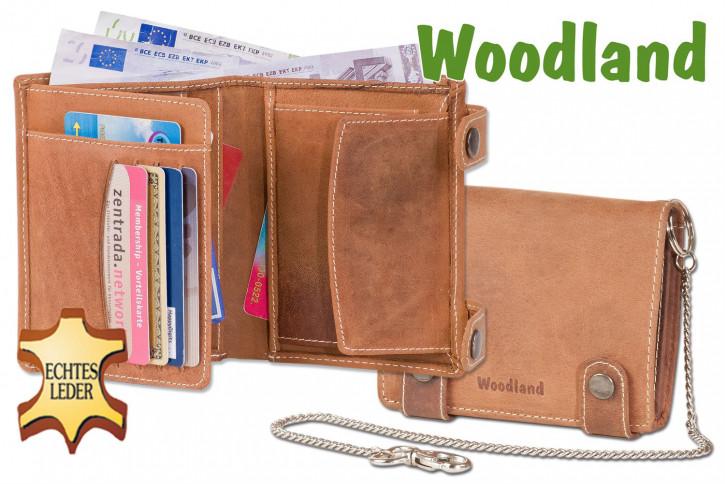 Woodland® Biker-Kettenbörse mit 40-cm langer Kette im Hochformat aus weichem, naturbelassenem Büffelleder in Cognac