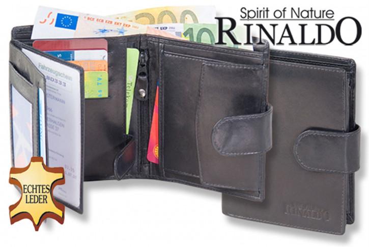 Rinaldo® Damenbörse mit Außenriegel aus glattem, naturbelassenem Rindsleder in Schwarz