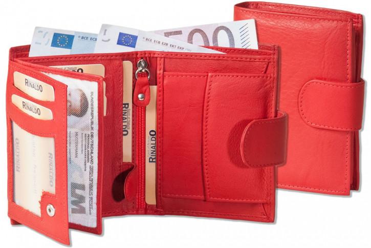 Rinaldo® Damen-Riegelgeldbörse im Hochformat aus besonders weichem, naturbelassenem Rindsleder in Rot