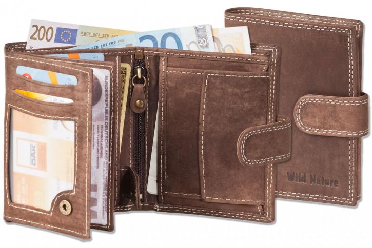 Wild Nature® Geldbörse mit Außenriegel aus naturbelassenem, weichem Büffelleder in Dunkelbraun/Natur