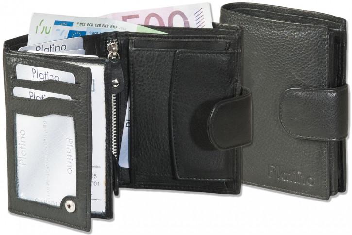 Platino - Damenbörse mit Außenriegel aus besonders hochwertigem, weichen Rindsleder in Schwarz